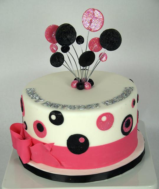 black-pink-polka-dot-cake-toronto