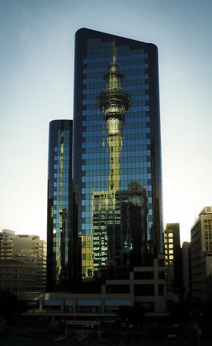 reflection glass sunrise auckland nz skytower aucklandanniversaryday