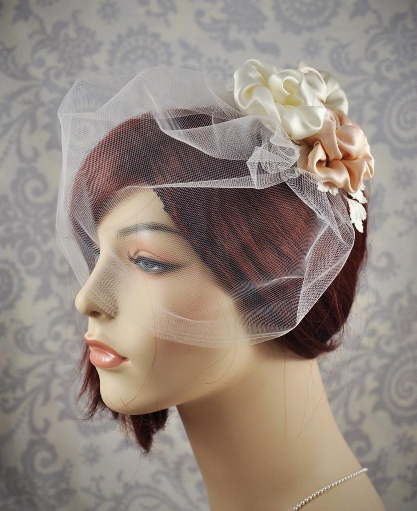 ef43a76cc8ba2 ... Bridal Veil - Tulle birdcage veil with silk flower fascinator in  vintage pink