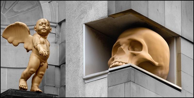 cherub and skull