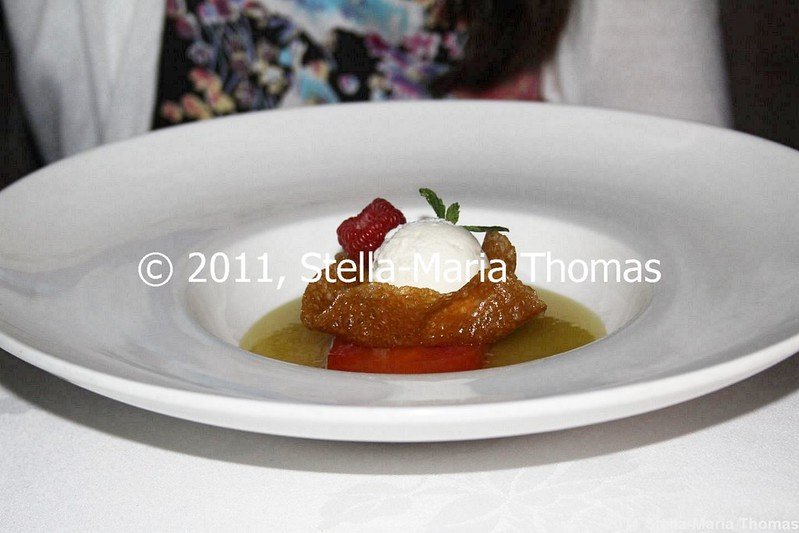 WATERMARK - LAYERED CITRUS TERRINE, GREEN APPLE EMULSION, HONEY SORBET 008