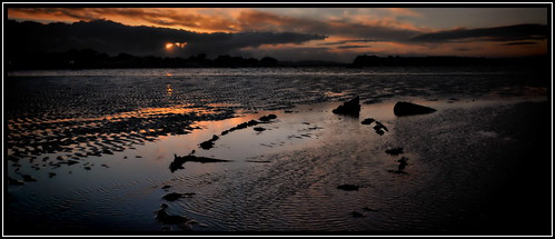 uk sunset sky reflection water clouds golden december sandbanks poole wrack 2011