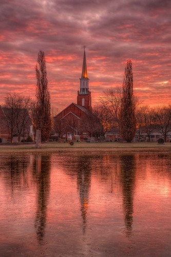 morning ice church sunrise reflections dawn nikon steeple hdr stmartinoftours medinacounty photomatix tonemapped nikond90 valleycityohio