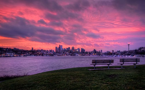 seattle winter red orange water sunrise washington purple pacificnorthwest spaceneedle lakeunion gasworkspark hdr downtownseattle canonrebelxsi fresnatic