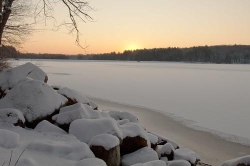 statepark sun lake snow sunrise scenery rocks awesome horizon lanscape