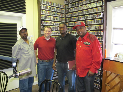 Phil Frazier, Sherwood Collins, Yellow Pocahontas Spy boy Tyrone Yancy, and Action Jackson during Taking it to the Streets. photo by Briana Prevost