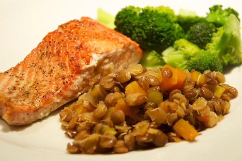 salmon & lentils | by dishesmenlikephotos