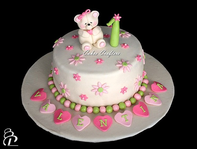 Cool Girl First Birthday Cake With Fondant Teddy Bear Inspired Flickr Funny Birthday Cards Online Fluifree Goldxyz