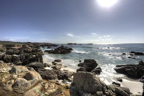ocean california usa sun beach drive rocks pacific stones pebble carmel 17 mile