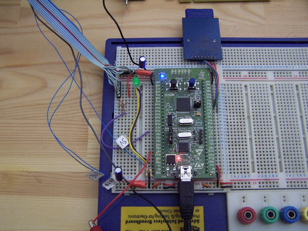 Closeup of breadboard with STM32 discovery mounted | Flickr