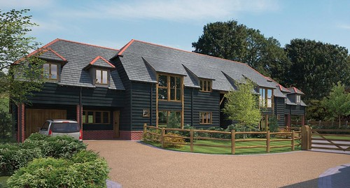 CGI of new build in a barn style