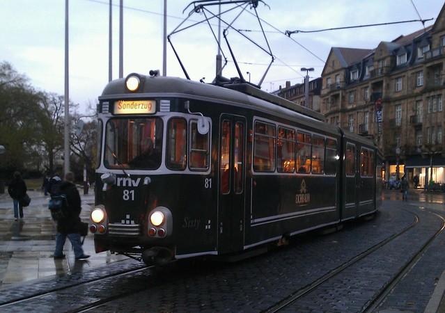 Alte Straßenbahn am Bismarkplatz