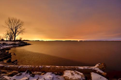 sky snow cold color tree night crazy log long exposure predawn shiver lakeeriemetropark