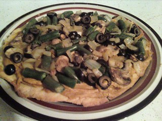 homemade vegan pizza with tahini sauce, onion, green beans, olives, mushroom | by Naturebound2011