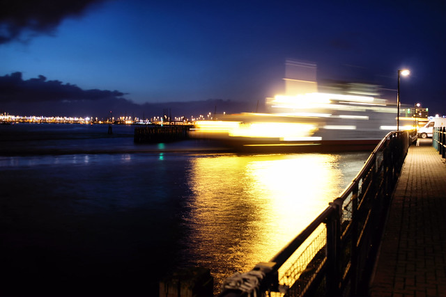 Red Funnell ferry arriving from the Island, just before darkness...