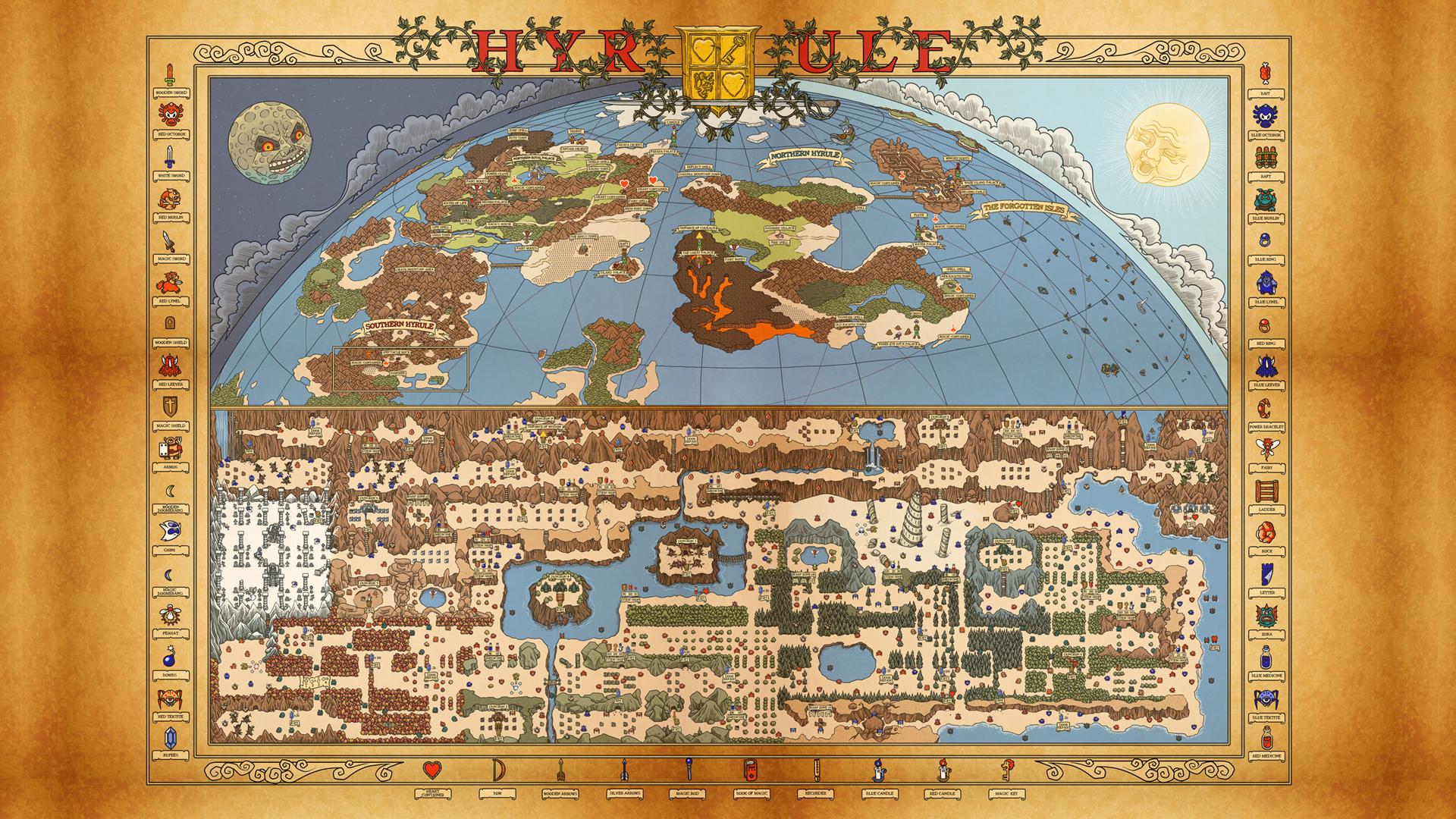 Fluidr / NES Hyrule Map wallpaper (Legend of Zelda/Adventure of Link ...