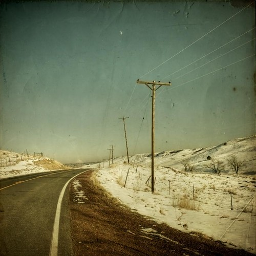 road winter sky moon snow rural vintage square colorado telephonelines aged telephonepoles muddy textured grung texturesquared applesandsisters