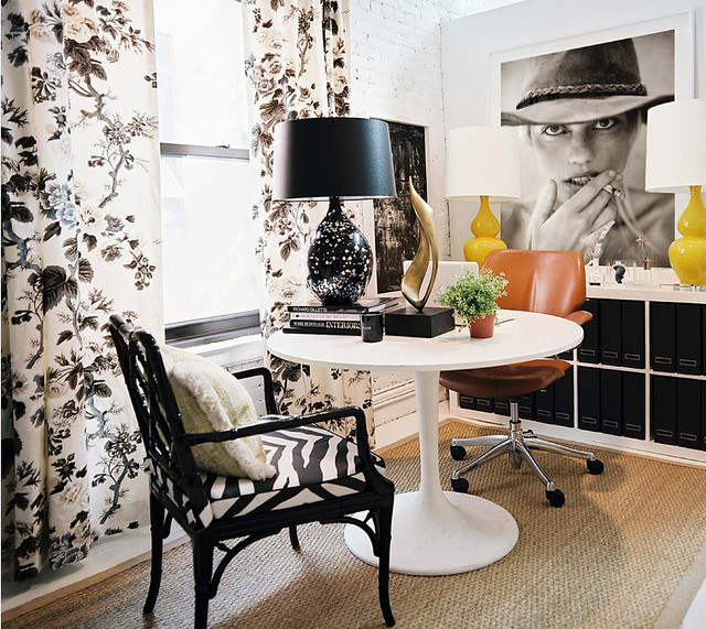 Black + white + yellow lamps: Michelle Adams's office at Lonny magazine