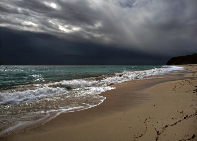It does happen, rainclouds over Barbados