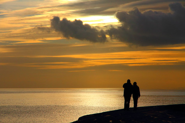 Lyme Regis Cobb sunset