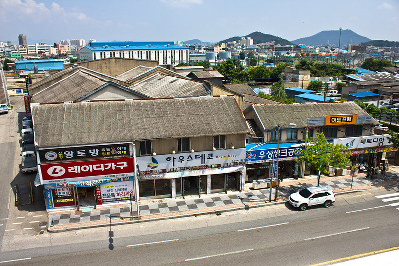 Colonial and post-liberation buildings near railway, Mokpo, South Korea