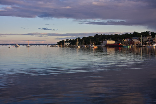 sunset usa america river boats evening harbor view footbridge united maine belfast states yachts passagassawakeag