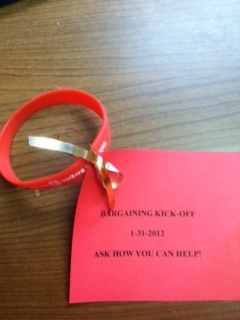 Wristband with note attached