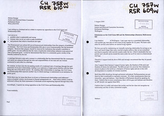 Submissions For and Against the Civil Unions Act 2005