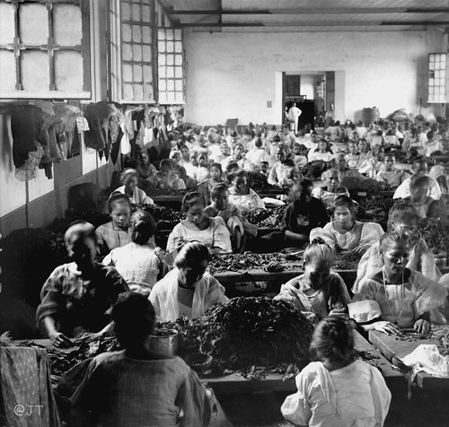 A crowded room in a cigar factory, women and girls making cigars, Manila, Philippines, early 20th Century | by J. Tewell