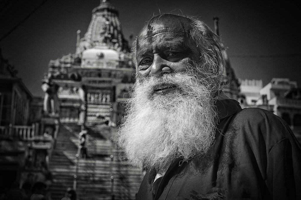 Bearded Sadhu outside Jagdish temple