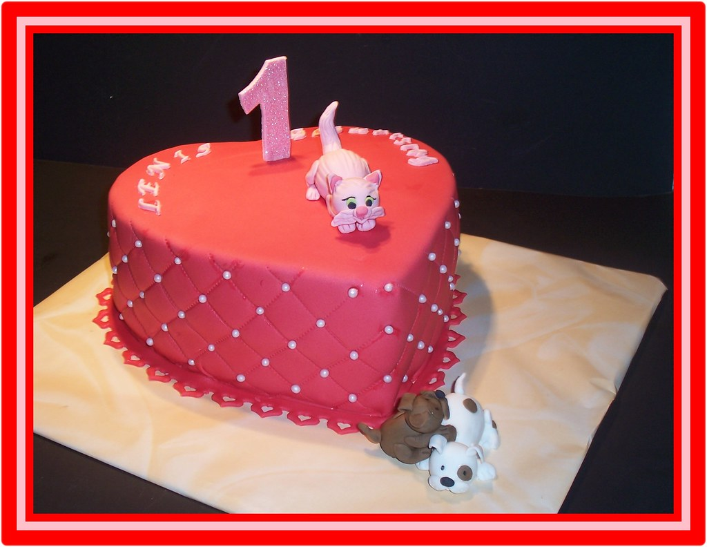 Peachy Children Birthday Cake With Cat Dogs Angelika Alexiou Flickr Personalised Birthday Cards Veneteletsinfo