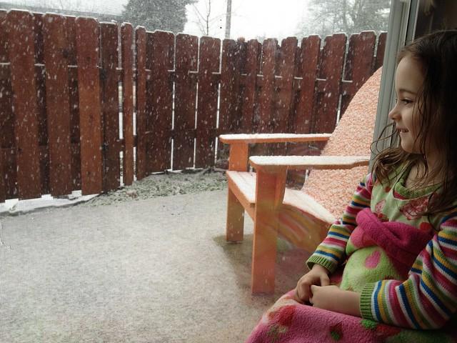Zoe watching the snow