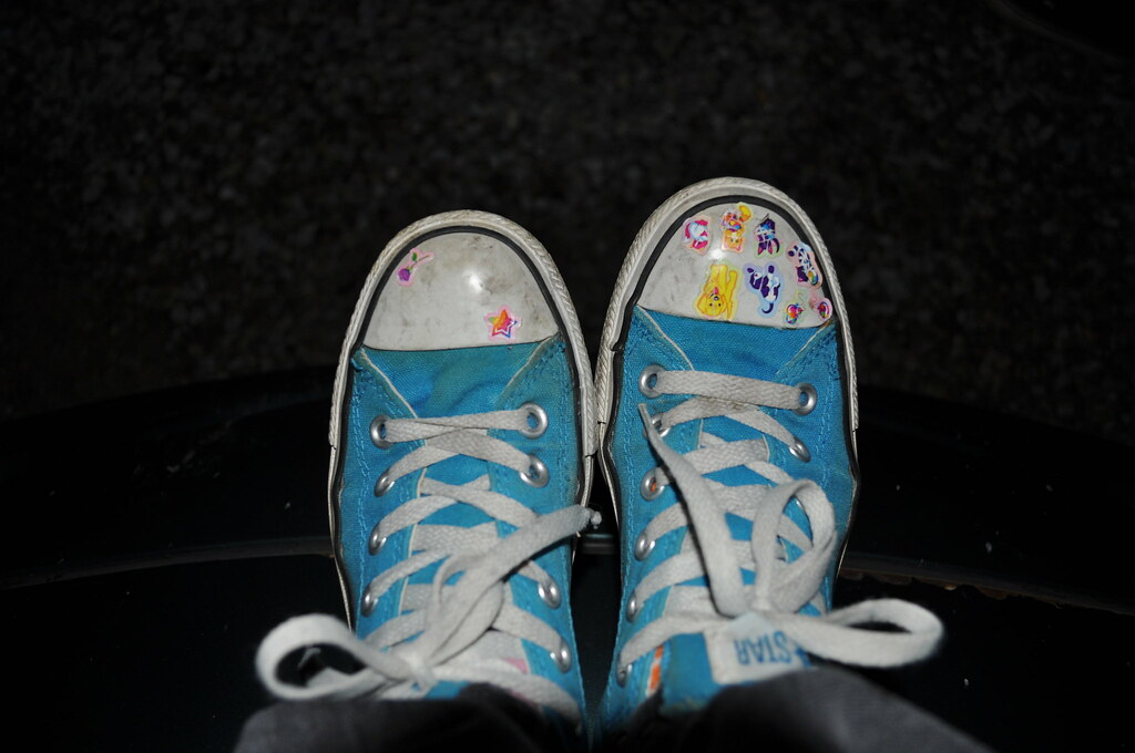 Old Shoes Old Blue Converse I Covered In Lisa Frank Sticke Flickr