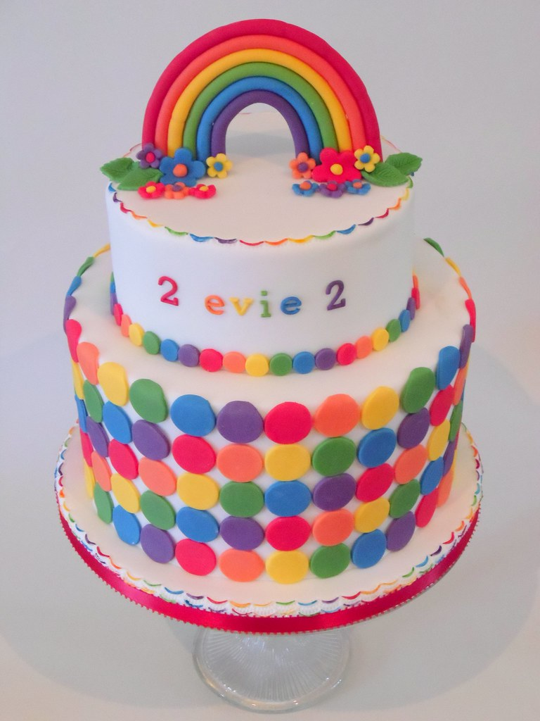 Rainbow Cake For A 2nd Birthday A Two Tier Cake Made Up
