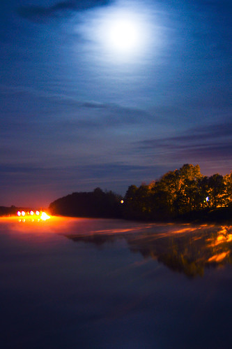 moon water night clouds reflections river pentax dam maine full fairfield benton kx sebasticook