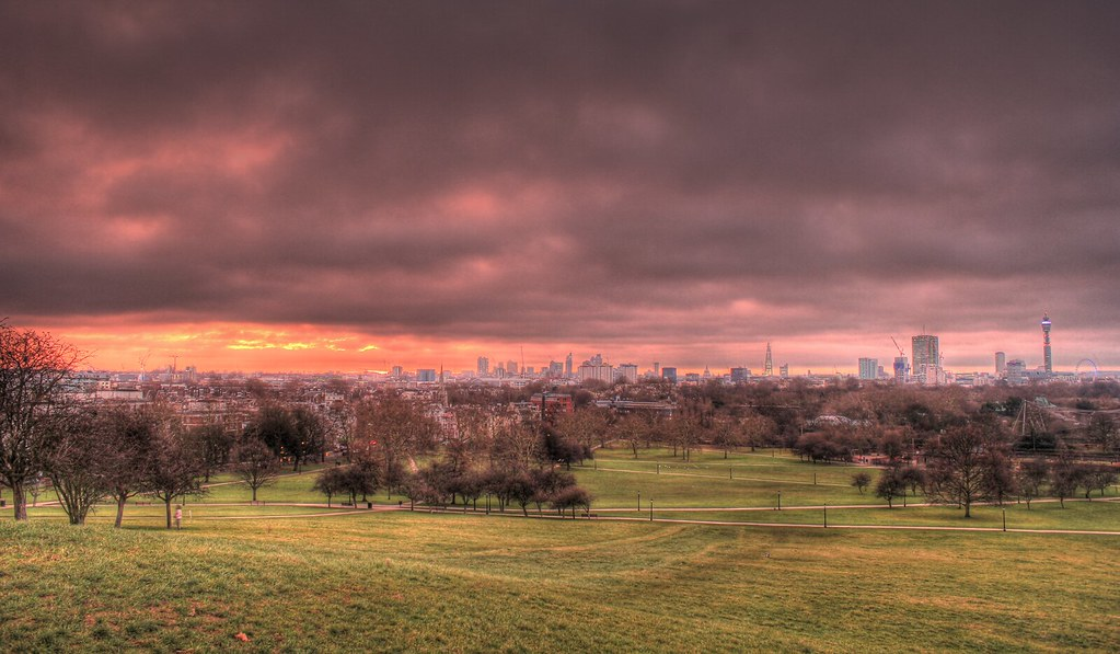 primrose hill london view sunset