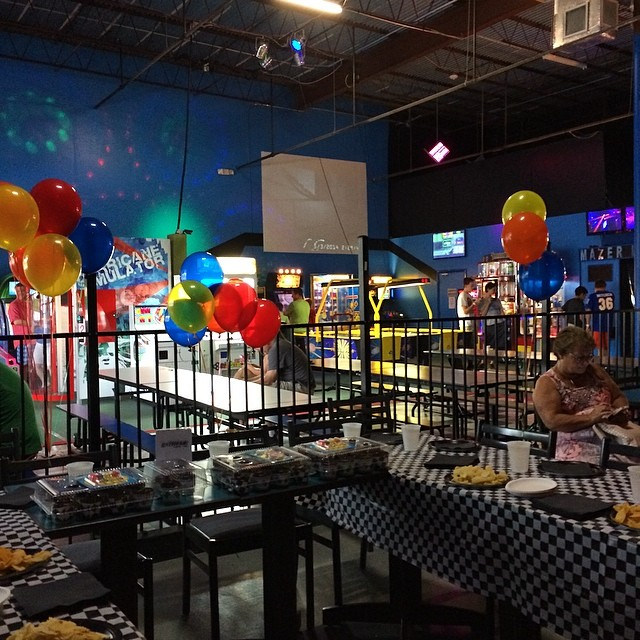 Getting set up for chases birthday party here at Extreme L
