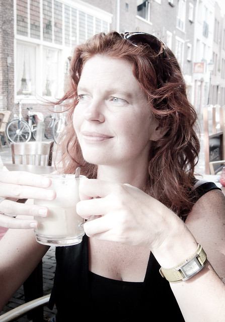 Hanneke, Amersfoort 2011: Enjoying her coffee II