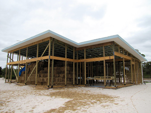 Straw Bales Stacked under Roof - Strawbale House Build in Redmond Western Australia