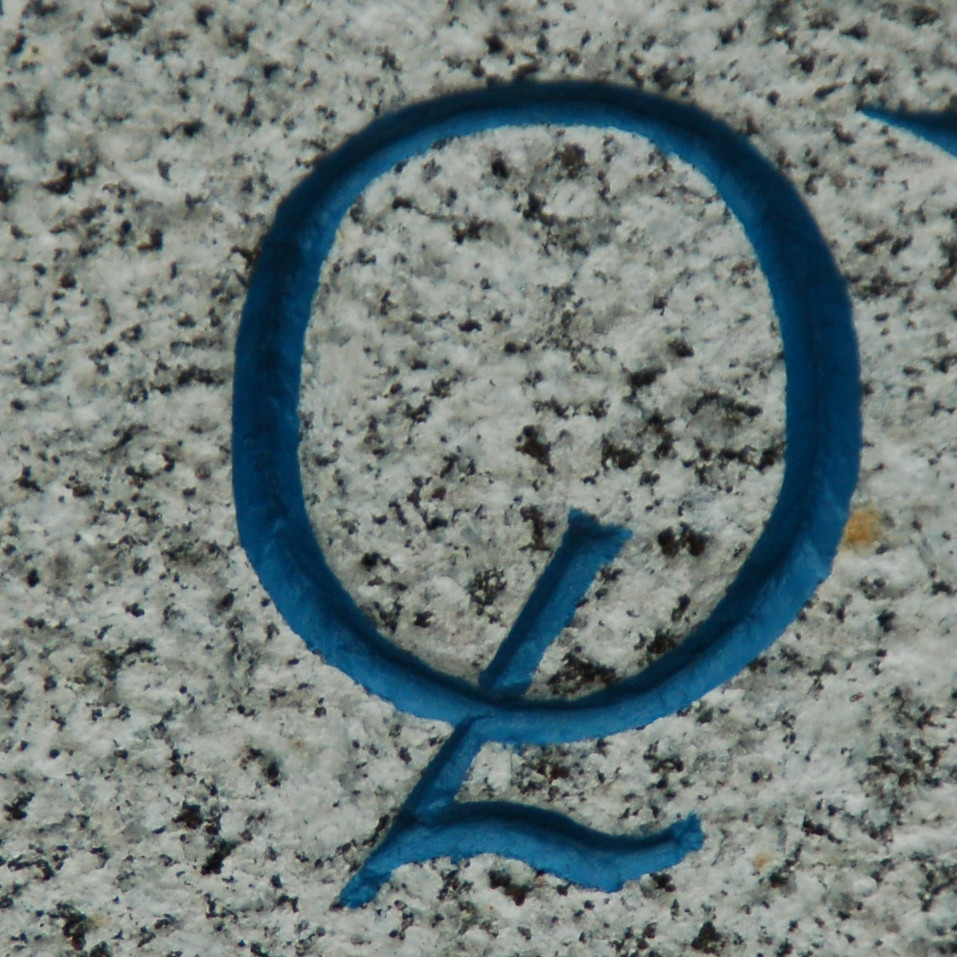 Q blue on granite