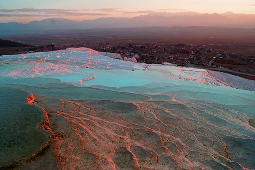 pink sunset mountains ice water colors turkey landscape turquie getty icy paysage pamukkale gettyimages pamukale vasque