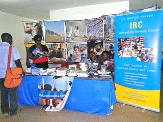 The U.S. Mission Uganda stall at Makerere University ,during the launch of the 360° Campus Initiative.