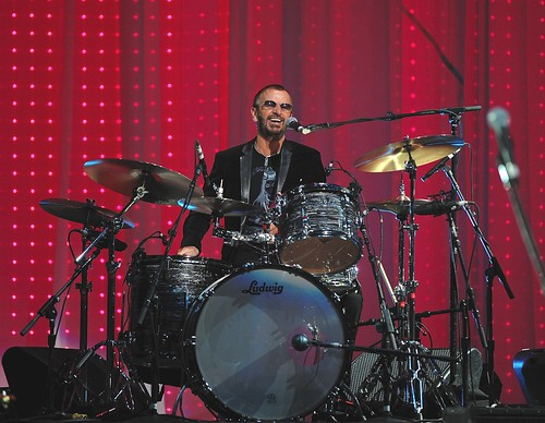"<p>Ringo Starr is at home on his drumset while performing at the ""Change Begins Within"" concert at Radio City Music Hall in 2009.</p>"