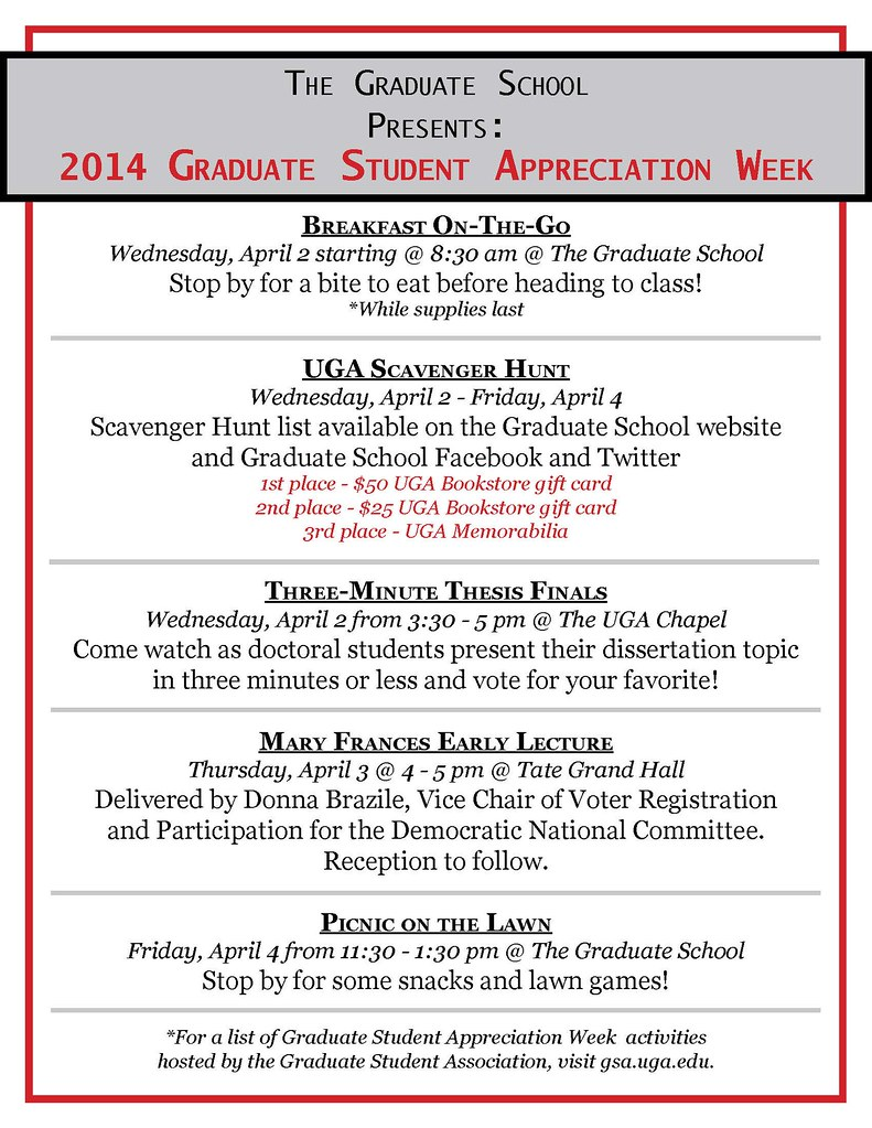 Grad Student Appreciation Week Flyer | UGA Grad Studies | Flickr