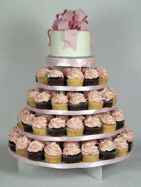 W9039 - pink white wedding cupcake tower toronto