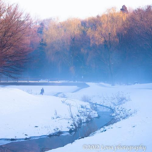 morning snow fog sunrise river