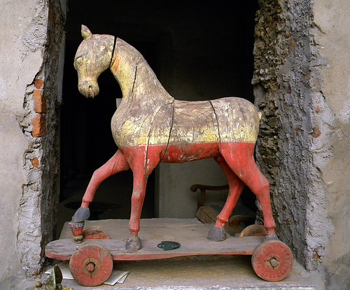 old wooden rolling horse