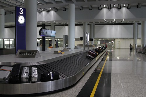 Baggage carousel in the arrivals hall at Hong Kong Airport
