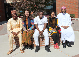 Thu, 09/24/2015 - 13:58 - Left to right, GCC students dressed in their festive Eid garments: Hamma Saleh Yusuf from Nigeria, Govher Hemrayeva from Turkmenistan, Job Ayuba from Nigera, Sabrina Ahmed from Bangladesh, and Arion Bashir, Zion, Illinois.