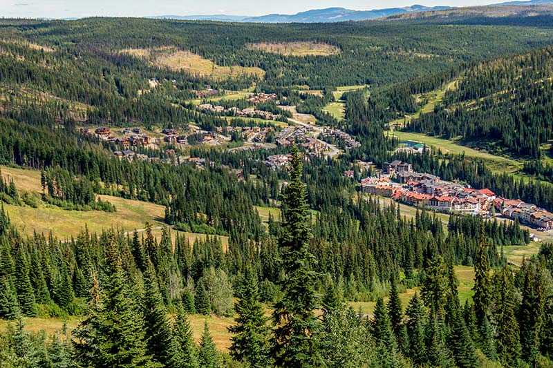 Summer view from the chairlift at Sun Peaks Ski Resort, Kamloops, Thompson Okanagan BC, British Columbia